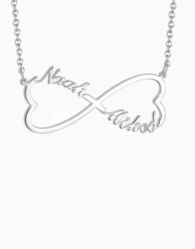 Customized Sliver Heart Infinity Name Necklace