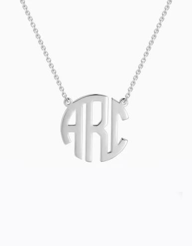 Personalized Block Monogram Necklace Silver
