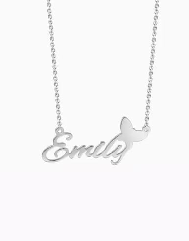 Customize silver Personalized Name Necklace With Butterfly