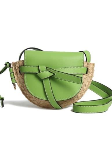 Bow woven crossbody bag