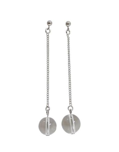 Simple Clear Crystal Ball Silver Drop Earrings