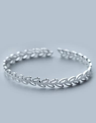 S925 silver fashion olive leaves opening bangle