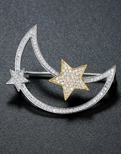 Copper inlaid AAA zircon moon star Brooch