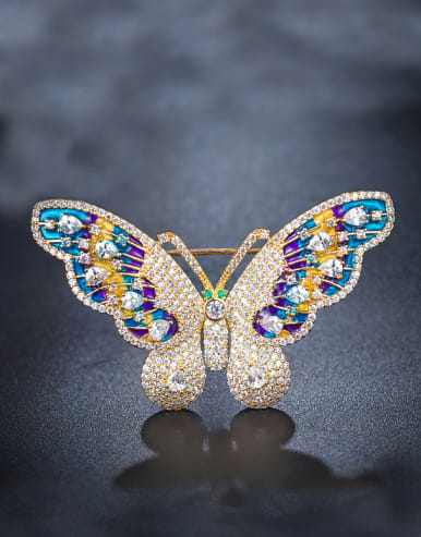 Colorful Zircon Butterfly Brooch