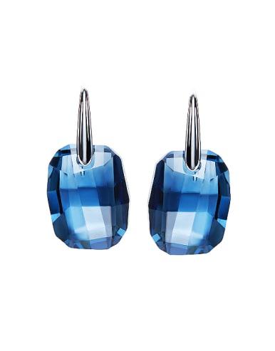 Simple Blue Swarovski Crystal-accented 925 Silver Stud Earrings