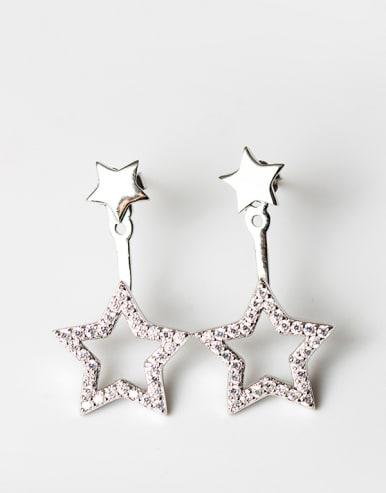 Fashion Shiny Zirconias-studded Stars 925 Silver Stud Earrings