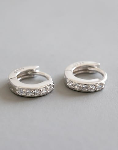 925 Sterling Silver With White Gold Plated Classic Cubic Zirconia Earrings