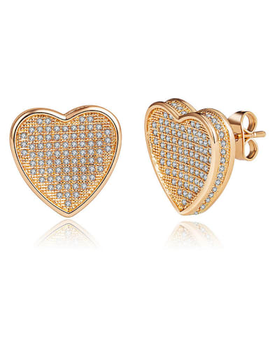 18K Gold Plated Heart stud Earring
