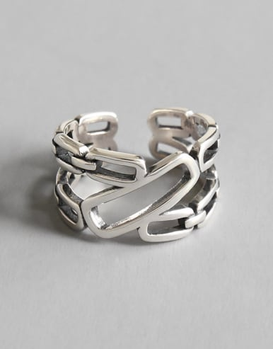 925 Sterling Silver With Antique Silver Plated Vintage Geometric Band Rings