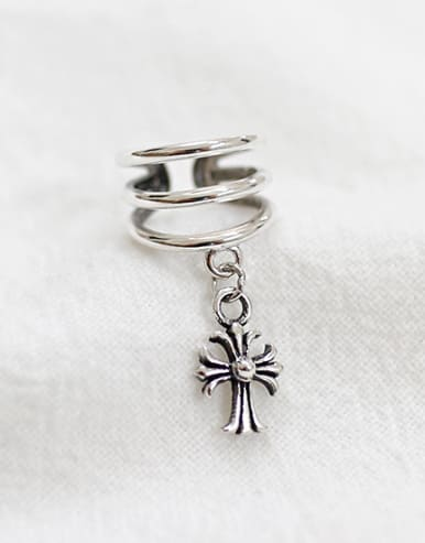 Personalized Little Cross Three-band Silver Clip On Earring