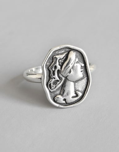 925 Sterling Silver With Antique Silver Plated Vintage Face Rings