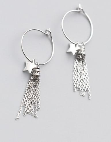 Elegant Star Shaped Tassel S925 Silver Drop Earrings