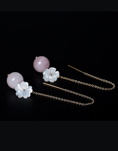 Fashion Natural Shell Flower Pink Crystal Bead 925 Silver Line Earrings