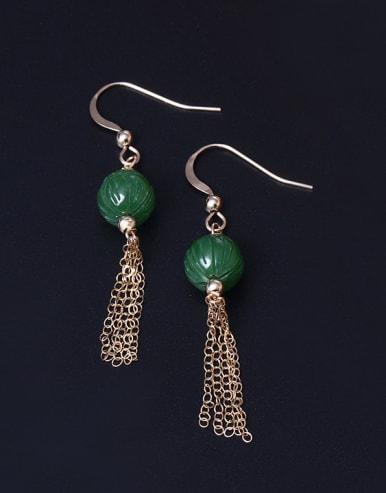 Natural Jade Tassel Hook Earrings