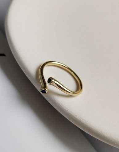 925 Sterling Silver With 18k Gold Plated Simplistic Geometric Rings