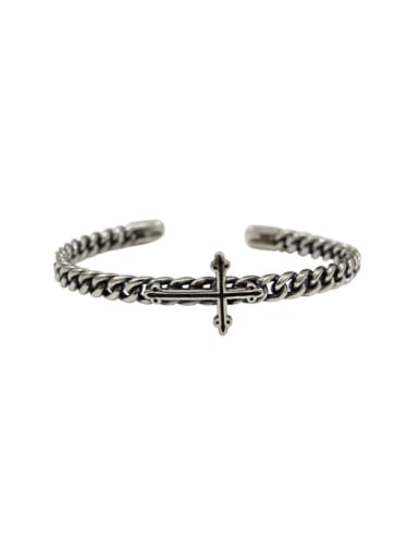 Retro style Antique Silver Plated Cross Silver Opening Bangle