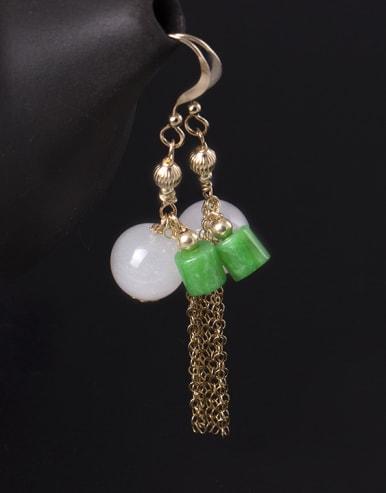 Temperament Ntural White Jade Hook Earrings