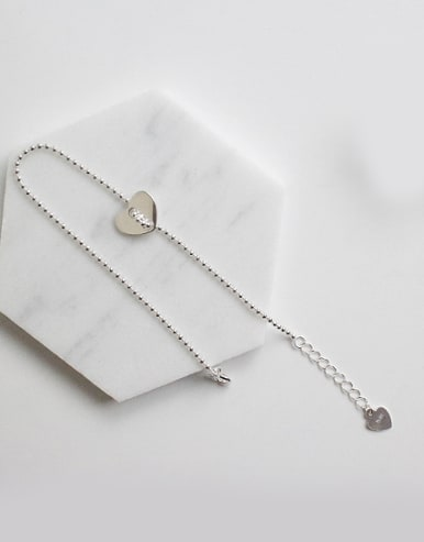 Simple Smooth Heart Silver Tiny Beads Chain Bracelet