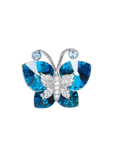 Fashion Butterfly Blue Swarovski Crystals Brooch