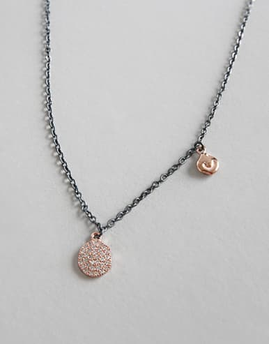 925 Sterling Silver With Gun Plated Cubic Zirconia Necklaces