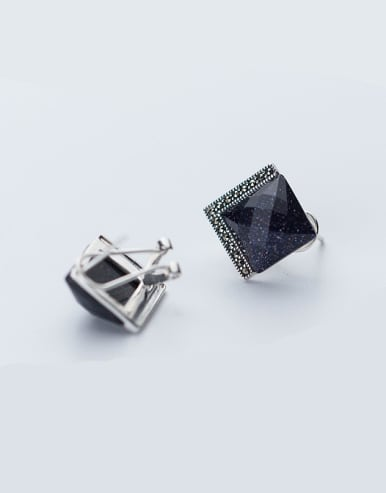 Exquisite Black Square Shaped Zircon S925 Silver Clip Earrings