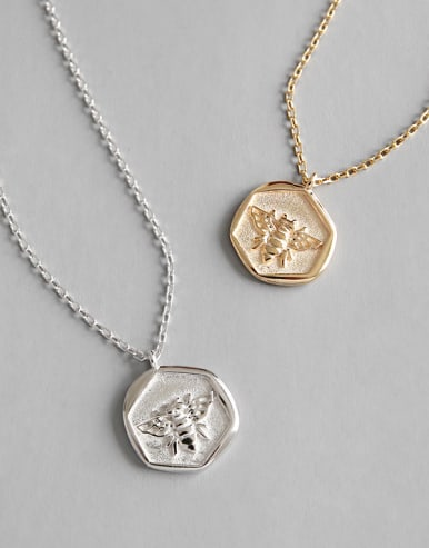 925 Sterling Silver With Platinum Plated Fashion Insect bee Necklaces