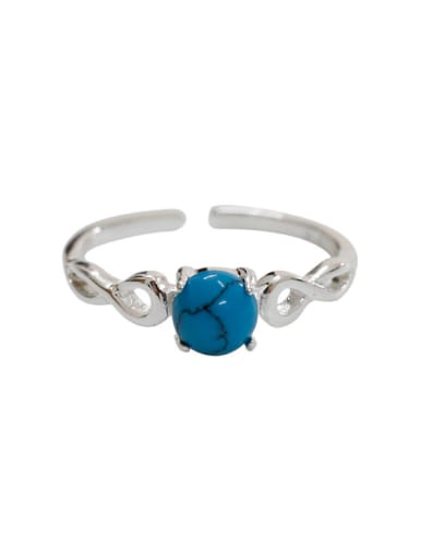 Simple Turquoise stone Silver Opening Ring