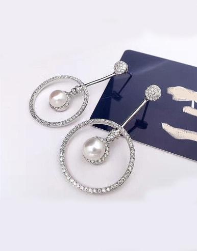 Freshwater Pearl Big Circle Zircon hoop earring