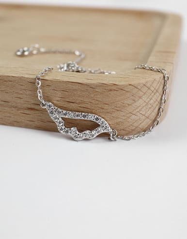 Fashion Cubic Zircon-studded Hollow Wing Silver Bracelet