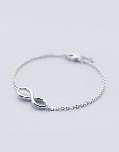 S925 Silver Simple Elegant Smooth 8 Figure Shape Bracelet