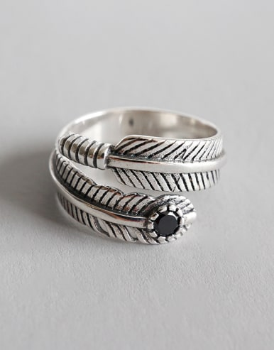 Sterling Silver personalized retro feather free size rings