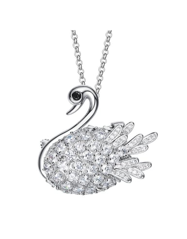 Fashion Elegant Cubic Zircon Swan Sweater Chain
