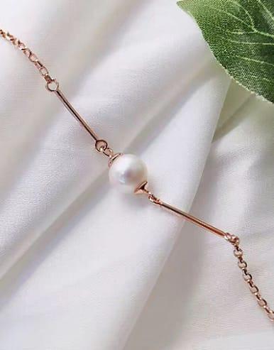 Rose Gold Plated Freshwater Pearl Bracelet