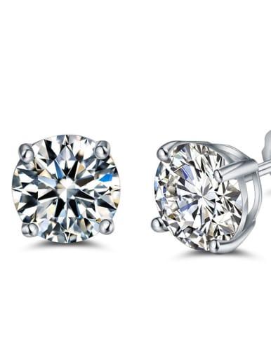 Shining AAA Zircons Elegant Silver Stud Earrings