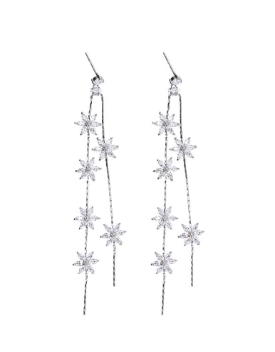 Fashion Tiny Flowers Zirconias Copper Drop Earrings