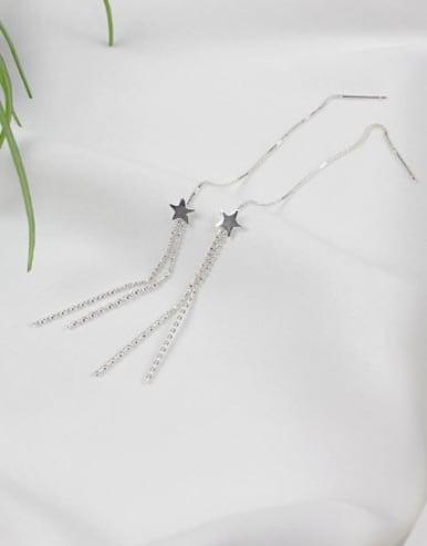 Fashion Little Star Tassels Silver Line Earrings