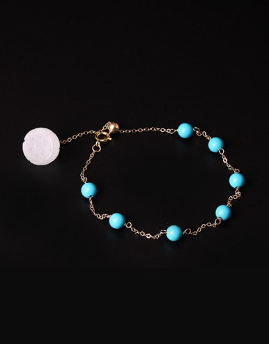 Ethnic style Tiny Turquoise Stones Jade Lotus Seedpot 925 Silver Bracelet
