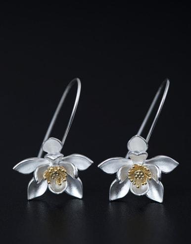 Retro style Lotus Flower 925 Silver Elegant Earrings