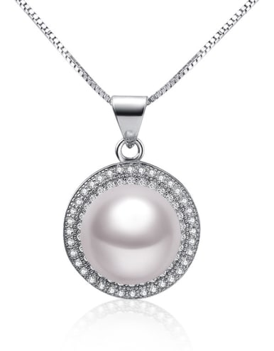 Freshwater Pearl Zircon Round Necklace