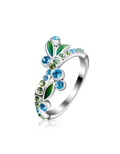 Fashion Shiny Swarovski Crystals 925 Silver Ring
