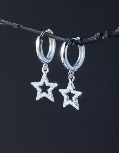 S925 silver star zircon drop earring