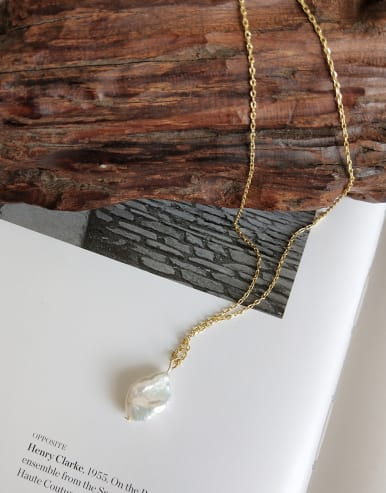 925 Sterling Silver With 18k Gold Plated Trendy Irregular Artificial Pearl Necklaces