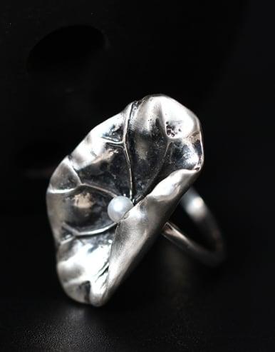 Freshwater Pearl Lotus Leaf Opening Statement Ring