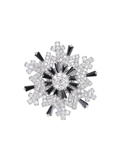 Fashion Snowflake Cubic Zircon Copper Brooch