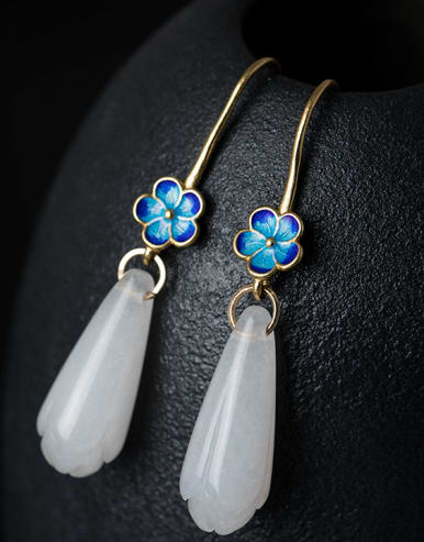 Retro style White Jade Flower 925 Silver Earrings