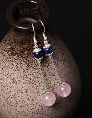 Natural Pink Stones Hook Earrings