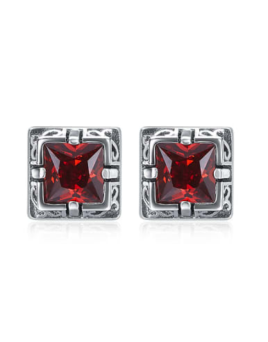 Retro style Red Zircon Square 925 Silver Stud Earrings
