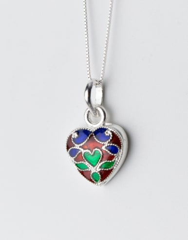 Vintage Colorful Heart Shaped S925 Silver Glue Pendant