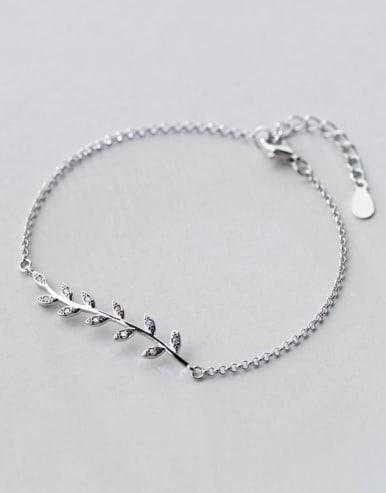S925 silver exquisite fresh leaves zircon bracelet