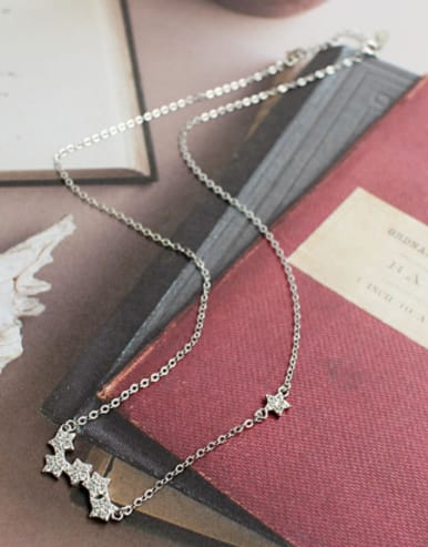 Fashion Little Stars Tiny Zirconias Silver Necklace